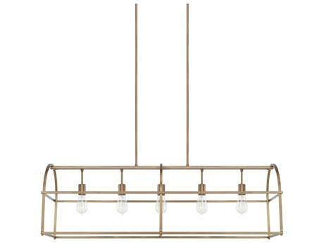 Capital Lighting Homeplace Aged Brass Five-Lights 46'' Wide Island Light