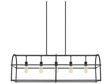 Capital Lighting Homeplace Matte Black Five-Lights 46'' Wide Island Light