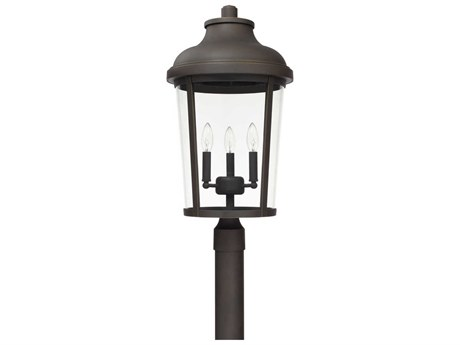 Capital Lighting Dunbar Oiled Bronze Three-Lights 13'' Wide Outdoor Post Lantern