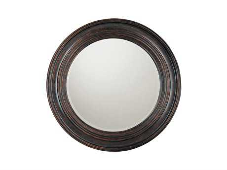 Capital Lighting 38 x 38 Round Beveled Deep Brown Wall Mirror