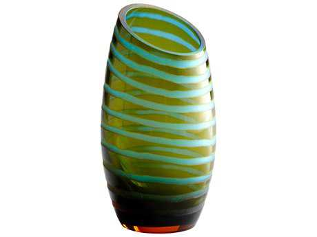 Cyan Design Large Angle Cut Etched Cyan Blue & Orange Vase