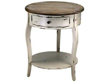 Cyan Design Abelard Distressed White & Gray 20'' Wide Round End Table