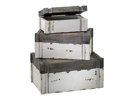 Cyan Design Alder Distressed White & Gray Set of 3 Storage Cases