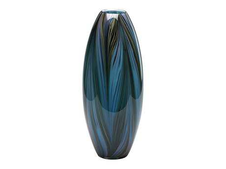 Cyan Design Colored Blue Peacock Feather Vase