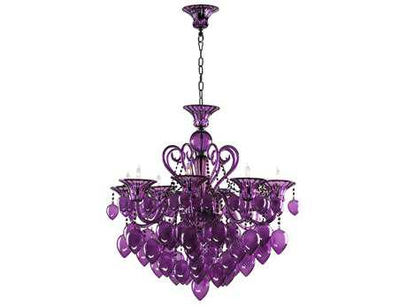 Cyan Design Bella Vetro Purple Eight-Light 34'' Wide Chandelier