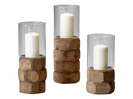 Cyan Design Small Natural Wood Hex Nut Candle Holder