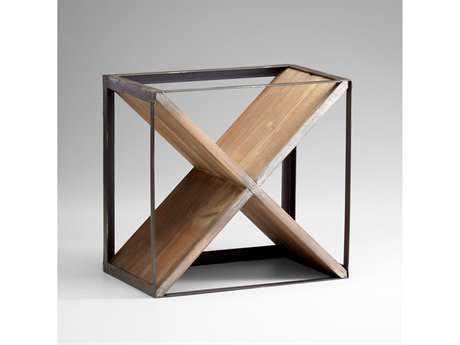 Cyan Design Cube Raw Iron & Natural Wood Wine Rack