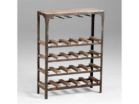 Cyan Design Gallatin Raw Iron & Natural Wood Wine Rack