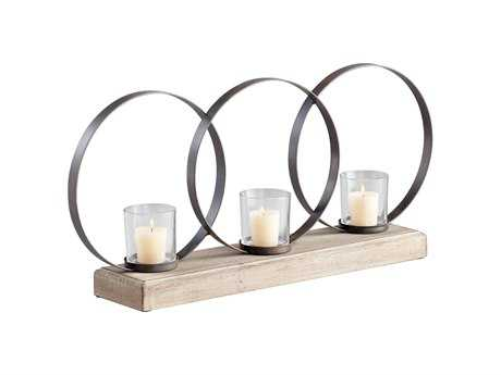 Cyan Design Raw Iron & Natural Wood Candle Holder