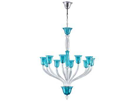 Cyan Design Vetrai Teal Ten-Light 54'' Wide Chandelier