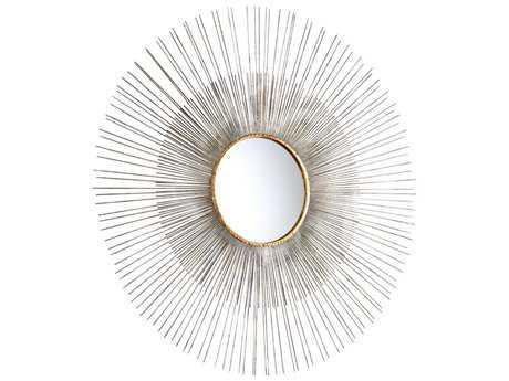 Cyan Design Large Pixley 36 x 36 Round Antiqued Silver Leaf Wall Mirror
