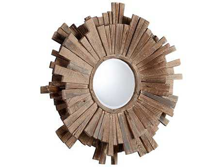 Cyan Design Polk 42 x 42 Round Walnut Wall Mirror