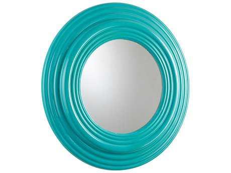 Cyan Design Cain 32 x 32 Round Cyan Blue Wall Mirror