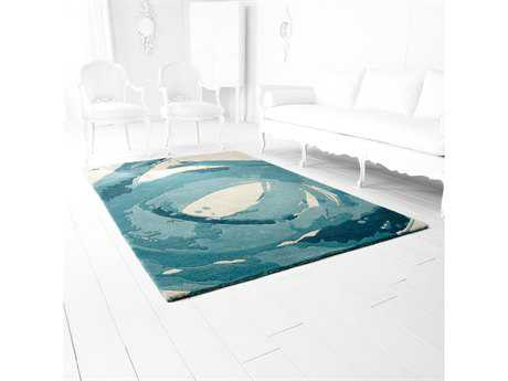 Cyan Design Tumult Rectangular Ivory & Blue Area Rug
