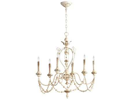 Cyan Design Persian White & Mystic Silver Six-Light 31'' Wide Chandelier
