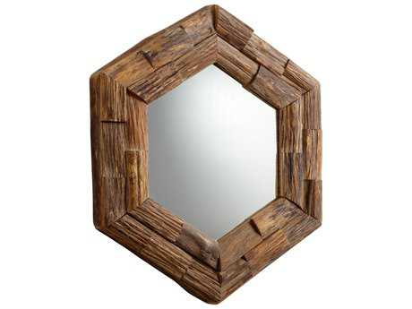 Cyan Design Hexagon 32 x 37 Pecan Wall Mirror