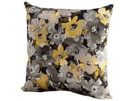 Cyan Design Grey & Gold Field of Flowers Pillow