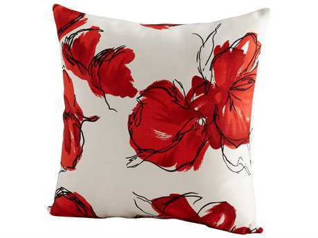 Cyan Design Red & White Crimson Petal Pillow