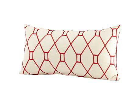 Cyan Design Red & White Obstruction Pillow