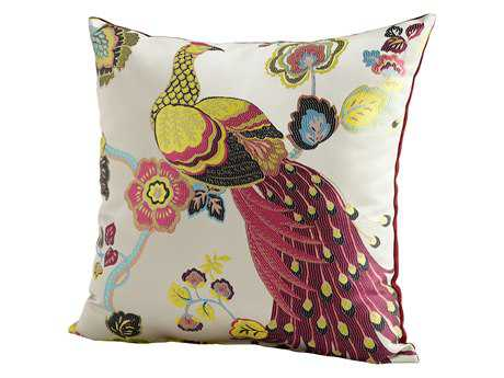 Cyan Design Fuschia & White Peacock Pillow