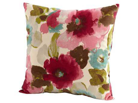 Cyan Design Fuschia & White Zinnia Pillow