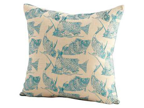 Cyan Design Turquoise & White Angler Pillow