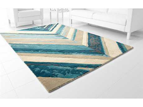 Cyan Design Cheveron Blue & Ivory Area Rug