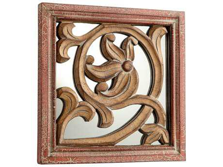 Cyan Design Vitis Antique Cherry 10'' Wide Square Wall Mirror