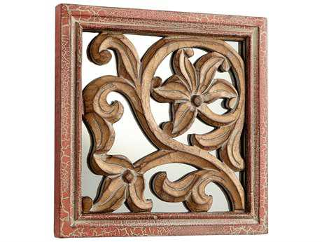 Cyan Design Vigue Antique Cherry 10'' Wide Square Wall Mirror