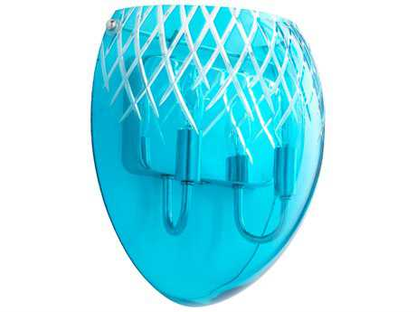 Cyan Design Chrome with Blue Etched Glass Two-Light Wall Sconce