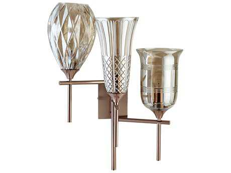 Cyan Design Darcey Satin Copper with Cognac Glass Three-Light Wall Sconce