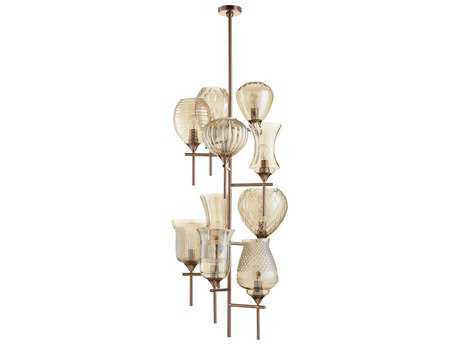Cyan Design Darcey Satin Copper with Cognac Glass Ten-Light 21'' Wide Grand Chandelier