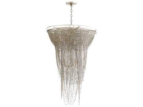 Cyan Design Ithica Aged Silver Leaf Nine-Light 26'' Wide Pendant Light