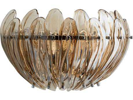 Cyan Design Aerie Chrome with Cognac Glass Three-Light Wall Sconce