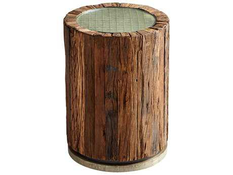 Cyan Design Natural Rustic Pinewood 16.5'' Wide Round Drum Table
