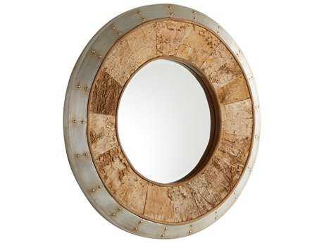 Cyan Design Avante Galvanized Metal & Oak 32'' Wide Round Wall Mirror