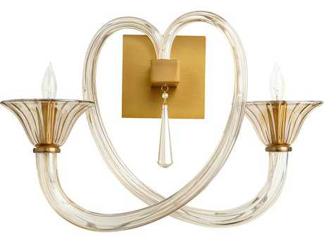 Cyan Design Amore Satin Brass with Cognac Glass Two-Light Wall Sconce
