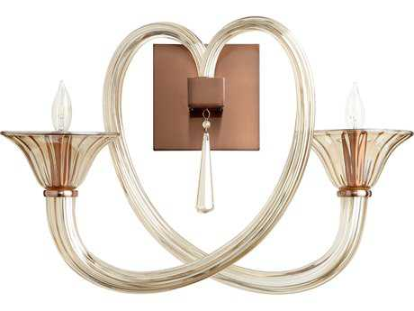 Cyan Design Amore Satin Copper with Cognac Glass Two-Light Wall Sconce