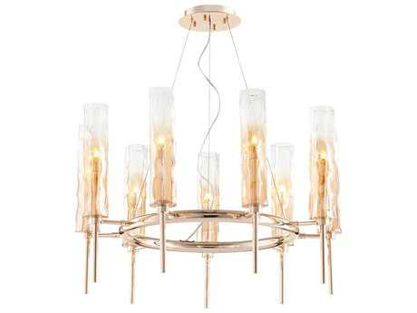 Cyan Design Balanchine Satin Gold with Ombre Amber Glass Nine-Light 29'' Wide Chandelier