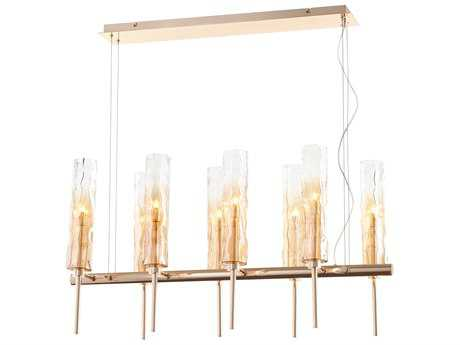 Cyan Design Balanchine Satin Gold with Ombre Amber Glass Eight-Light 36'' Long Island Light
