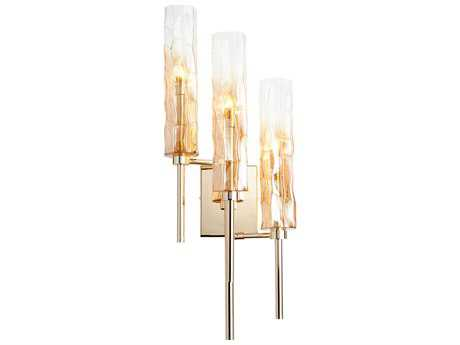 Cyan Design Balanchine Gold with Ombre Amber Glass Three-Light Wall Sconce