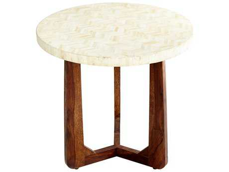 Cyan Design Brown and Ivory 24'' Wide Round Archie End Table