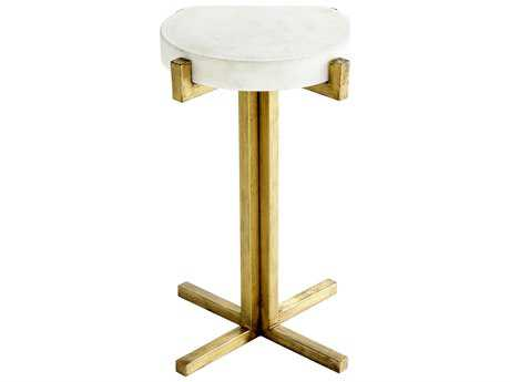 Cyan Design White and Gold 16'' Wide Round Discus End Table