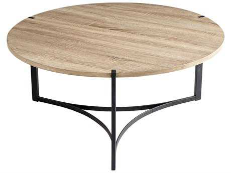 Cyan Design Oak Veneer 34'' Wide Round Tri Coffee Table