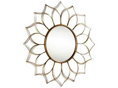 Cyan Design Blooming Beauty Aged Gold 10'' Wide Round Wall Mirror