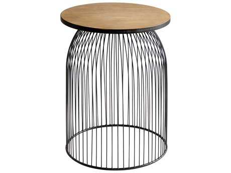 Cyan Design Bird Cage Graphite and Natural Wood Accent Stool