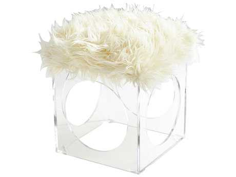 Cyan Design Mitza Clear and White Accent Stool