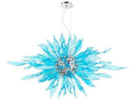 Cyan Design Jarvis Polished Nickel & Blue 14-Light 48'' Wide Pendant Light