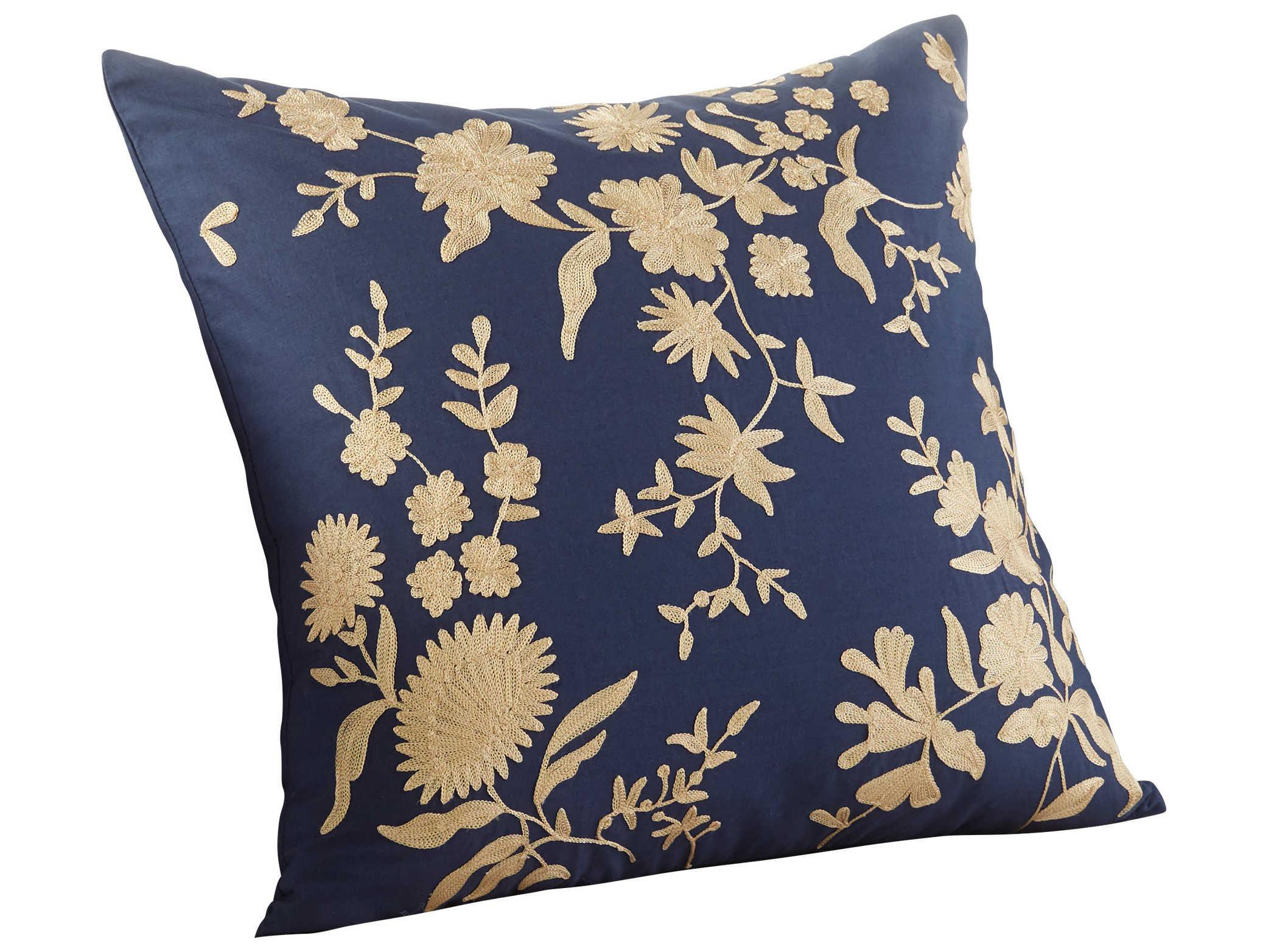 Porcelain Blue Decorative Pillows : Cyan Design Porcelain Blue 18 Square Pillow C309375