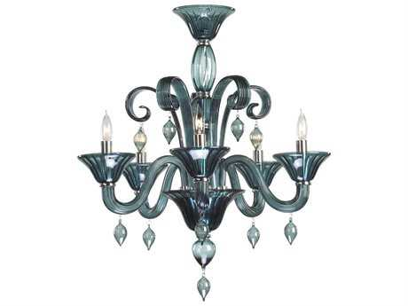 Cyan Design Treviso Chrome & Indigo Smoke Five-Light 24'' Wide Chandelier